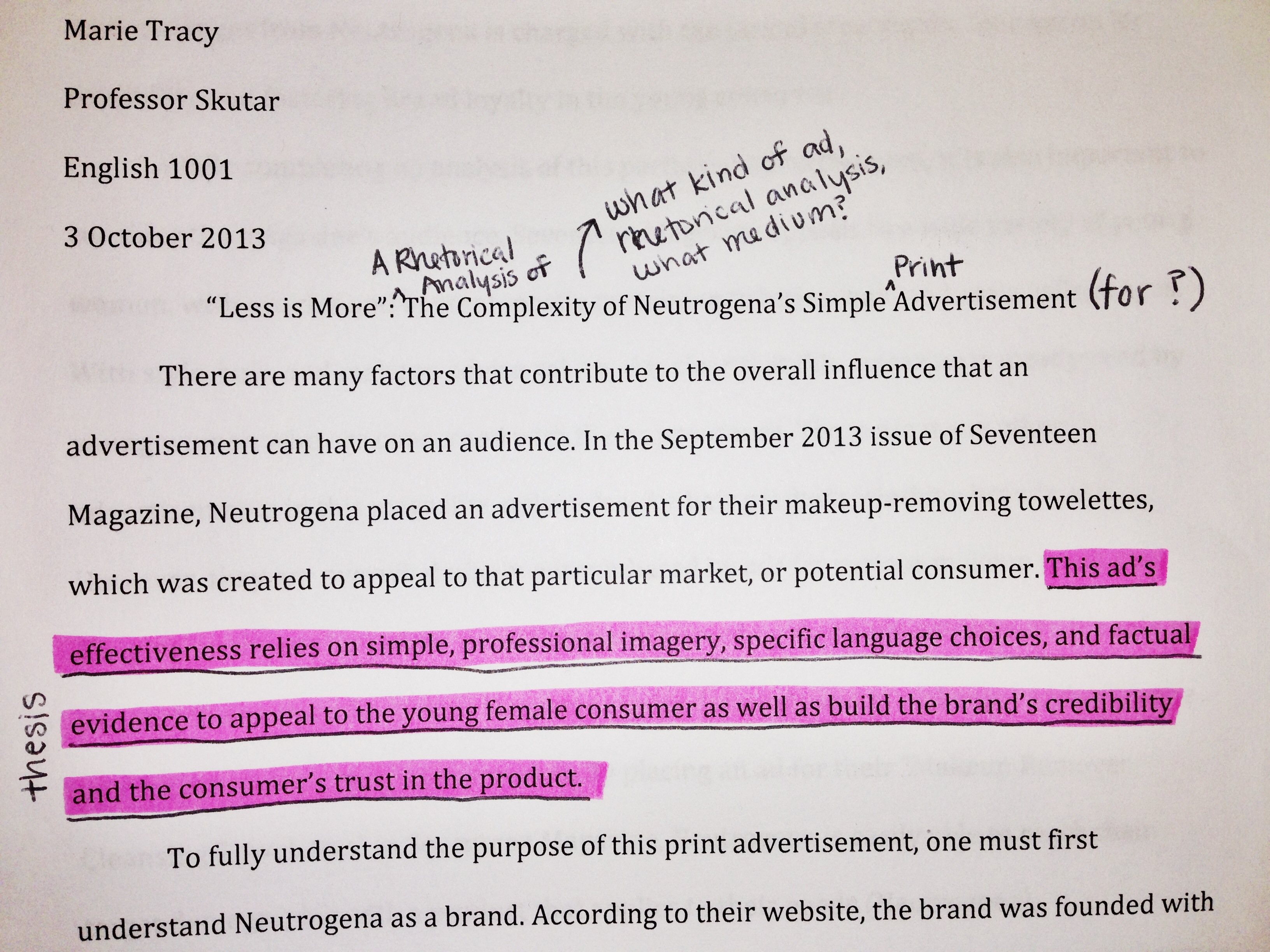 analyzing an advertisement thesis